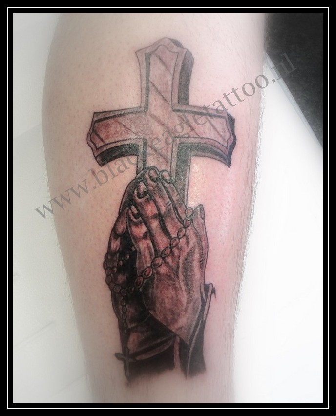 Praying Hands and Cross Calf